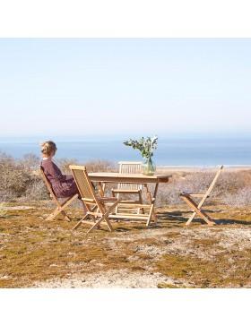 Salon de jardin en teck massif 120 Capri 4 chaises