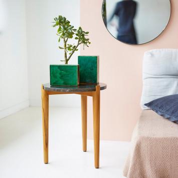 Bout de canapé en teck et marbre Nestor black
