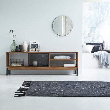 Meuble TV en teck massif et métal Color Bebop black 170 cm