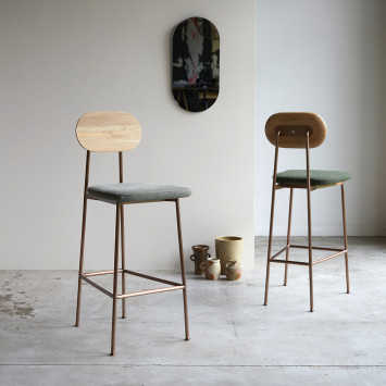 Chaise haute Yutapi linen green en chêne massif