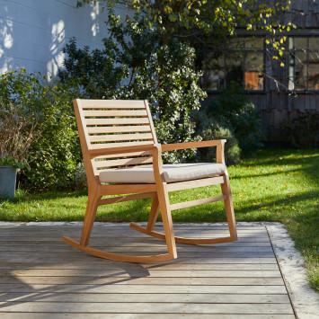 Rocking chair de jardin en teck massif Leni