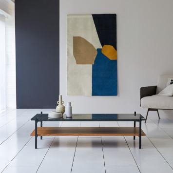 Table basse en acacia massif et marbre Edit