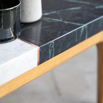 Table basse Stonepiet en chêne massif et marbre 95x40 cm
