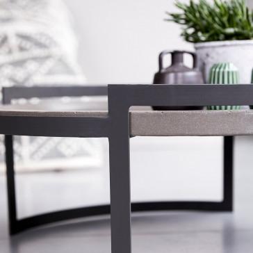 Table basse en pierre bleue et métal Etnisi