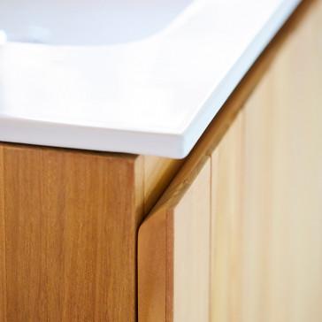 Meuble Salle de bain en teck massif et céramique 80 Jill