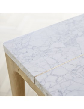 Table Stonepiet en chêne massif et marbre 201x101