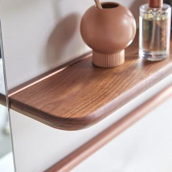 Etagère miroir en noyer et laiton Félicie