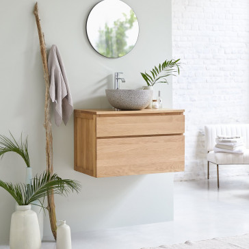 Meuble Salle de bain en chêne massif 80 Jacob