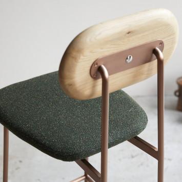 Chaise haute Yutapi kaki tweed en chêne massif