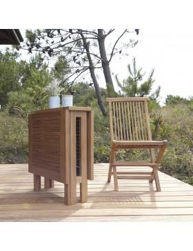 Salon de jardin en teck massif pliant 130 Capri 4 chaises