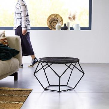 Table basse ronde en marbre et métal