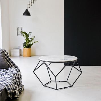 Table basse ronde en marbre blanc et métal