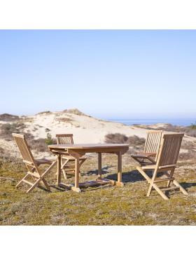 Salon de jardin ovale en teck massif 160 Capri 4 chaises