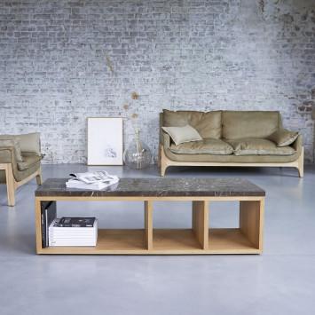 Table basse Eyota en chêne et marbre