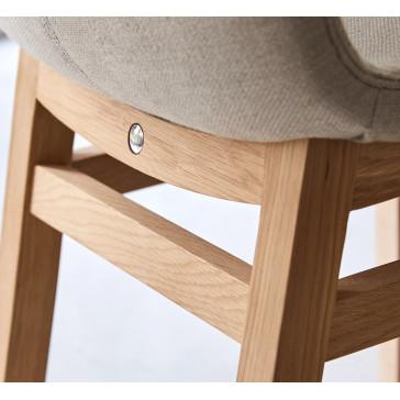 Chaise Cocoon linen en chêne