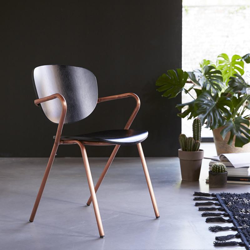 Chaise en chêne et métal Ada copper