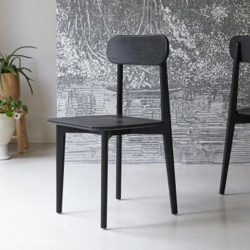 Chaise en teck massif Jonàk black