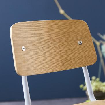 Chaise en frêne et métal Mio grey