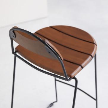 Chaise haute en frêne massif et métal Molly