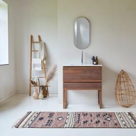 Meuble Salle de bain en noyer massif et céramique 80 Edgar