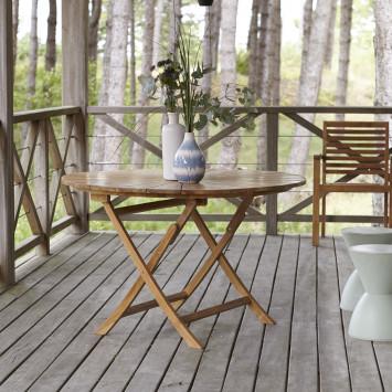 Table de jardin pliable en teck massif Andria 6 pers