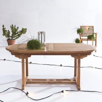 Table de jardin ovale en teck massif à rallonge Capri 7/9 pers
