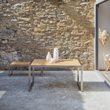 Table de jardin en teck massif et inox Arno 4/6 pers