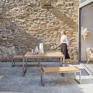 Salon de jardin en teck massif et inox Arno 6 places