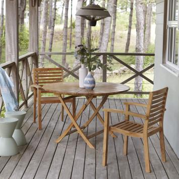 Salon de jardin en teck massif Andria 2 fauteuils