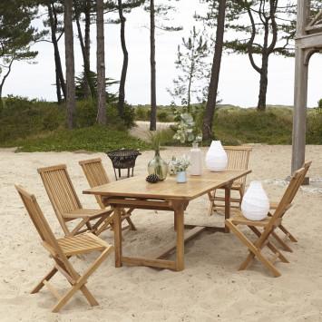 Salon de jardin rectangulaire en teck massif Capri 6 chaises