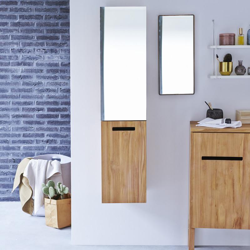 Colonne miroir en teck massif Line