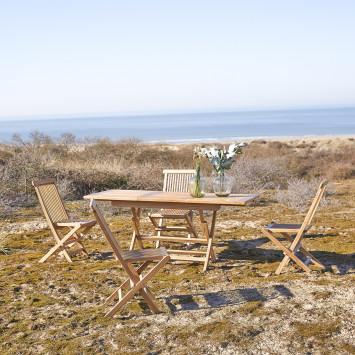 Table de jardin pliable en teck massif à rallonge Capri 4/6 pers