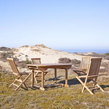 Table de jardin ovale en teck massif à rallonge Capri 6/8 pers
