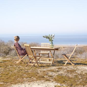 Salon de jardin en teck massif Capri 4 chaises