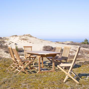 Salon de jardin ovale en teck massif Capri 6 chaises