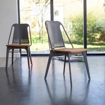 Chaise en teck massif et métal Toscane grey