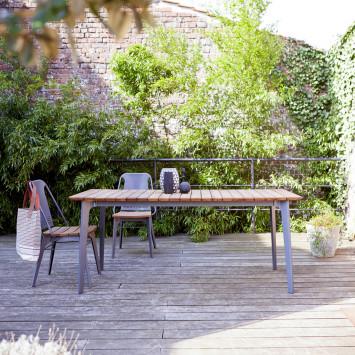 Table de jardin en teck massif et métal Toscane 6/8 pers