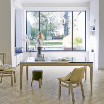 Table Stonepiet en chêne massif et marbre 6/8 pers