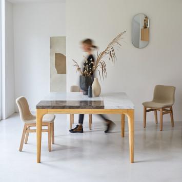 Table Stonepiet en chêne massif et marbre 2/4 pers
