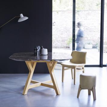 Table Stoneleaf en chêne massif et marbre 2/4 pers