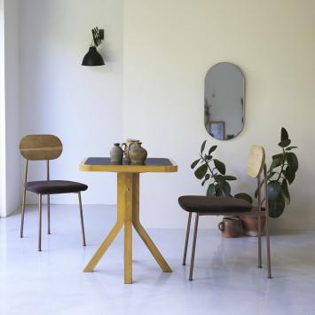 Table Café crème en chêne massif et marbre