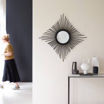Miroir en rotin Isidore noir 80 cm