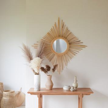Miroir en rotin Isidore naturel 80 cm