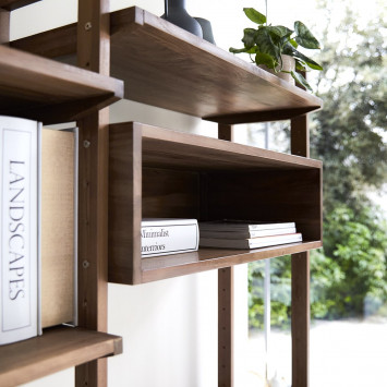 Bibliothèque double en teck massif Wall