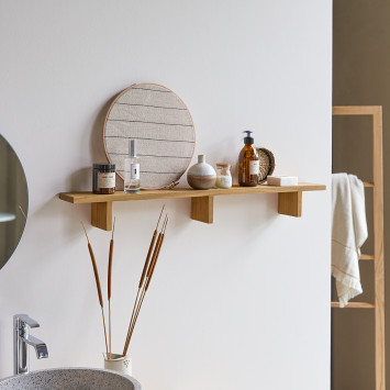 Etagère de salle de bain horizontale en teck massif Bahya