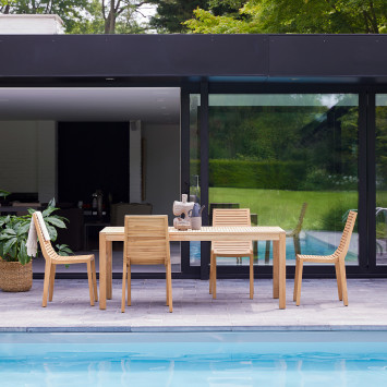 Salon de jardin en teck massif Teo 4 chaises