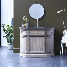 Meuble salle de bain en chêne et pierre Louise 110 cm