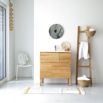 Meuble salle de bain en chêne massif et céramique Easy 80 cm