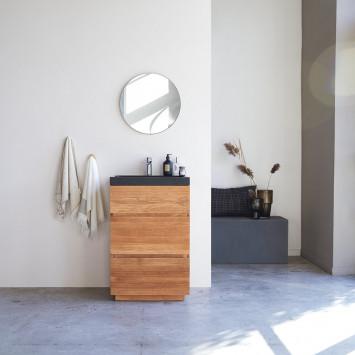 Meuble salle de bain en chêne massif et pierre de lave Karl 60 cm