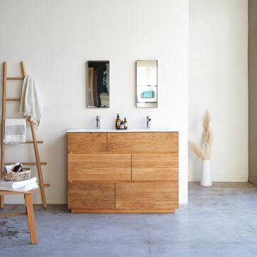 Meuble salle de bain en chêne massif et céramique Karl 120 cm